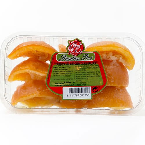 Orange frosted quarters tray 250 gr