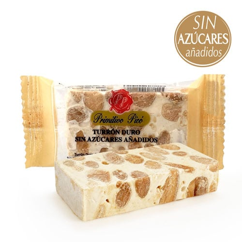 Hard almond nougat portions without sugar